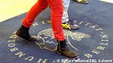 Studenten gehen im Foyer der Humboldt-Universität am 15.10.2012 in Berlin über einen Teppich mit dem Logo der Universität. Foto: Jens Kalaene | Verwendung weltweit