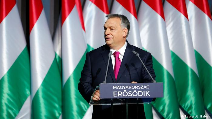 Viktor Orban speaks during his state-of-the-nation address in Budapest