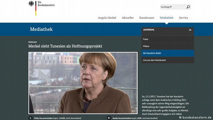 Screenshot von bundeskanzlerin.de