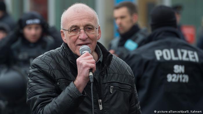 Neo-Nazi Gerhard Ittner addresses a crowd in Dresden