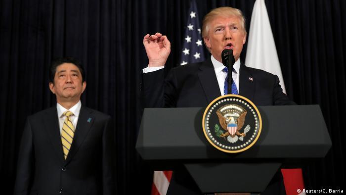 USA Präsidenten Donald Trump & Shinzo Abe, Japan   Kommentar zu Nordkorea