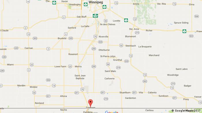 Flüchtlinge fliehen von USA nach Kanada (Google Maps 2017)