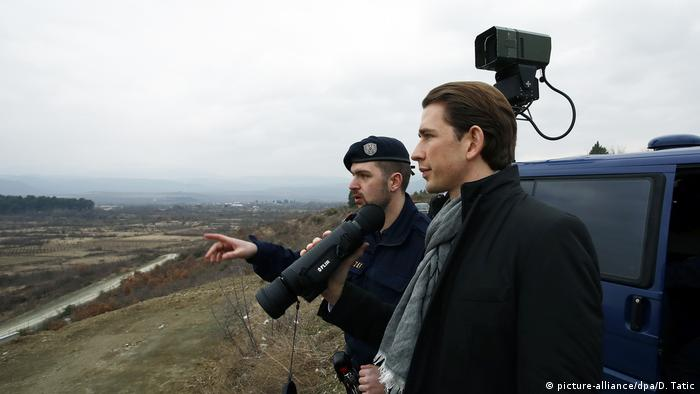 As Austria's foreign minister, Kurz traveled to Macedonia's southern border with Greece to see how authorities are preventing migrants from traveling northward towards central Europe