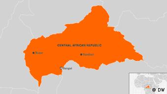 Karte Zentralafrikanische Republik Bouar, Bangui, Bambari Englisch