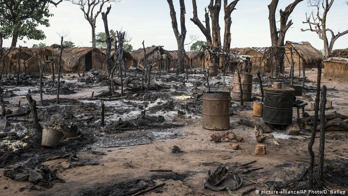 Kaga-Bandoro, a village in the Central African Republic burnt down after an attack