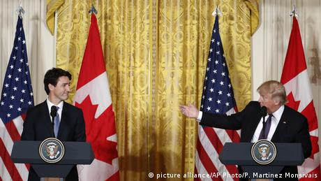 USA kanadischer Premierminister Justin Trudeau mit US-Präsident Donald Trump (picture alliance/AP Photo/P. Martinez Monsivais)