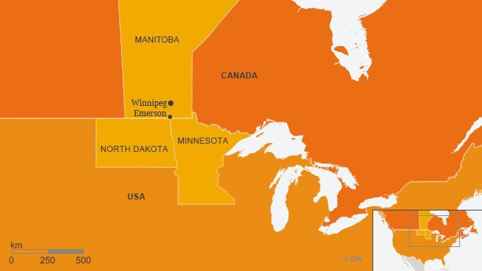 Karte Kanada USA Emerson ENG
