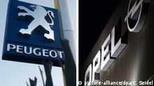 ARCHIV- Eine Bildkombo zeigt die Logos der Automobilhersteller Peugeot (l, 16.05.20109 in Birmingham, Großbritannien) und Opel (28.11.2012 in Bochum). (Zu dpa Bericht: PSAPeugeot Citroën erwägt Übernahme von Opel) Foto: Caroline Seidel/dpa +++(c) dpa - Bildfunk+++ | Verwendung weltweit