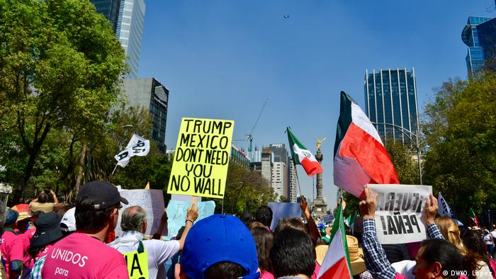 People protest against Donald Trump in Mexico City