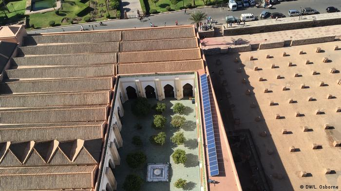 Solar panels on top of the Koutoubia Mosque in Marrakesh - taken from above (DW/L. Osborne)
