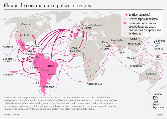Infografik Karte Drogenhandel weltweit portugiesisch