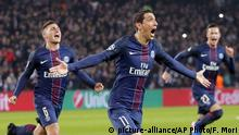 14.02.2017 +++ PSG's Angel Di Maria, center, celebrates after scoring the first goal of the game during the Champion's League round of 16, first leg soccer match between Paris Saint Germain and Barcelona at the Parc des Princes stadium in Paris, Tuesday, Feb. 14, 2017. (AP Photo/Francois Mori) |