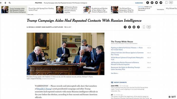 USA Screenshot New York Times Berichterstattung zu Trump Flynn und Kontakte zum russischen Geheimdienst (NYT)