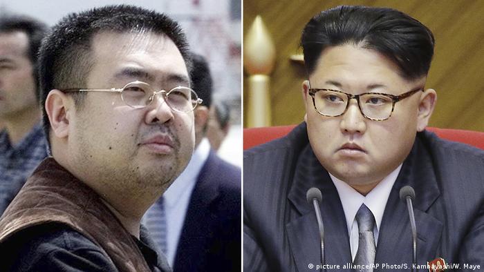 کیم جونگ اون (راست)، رهبر کره شمالی و برادر ناتنیاش کیم جونگ نام