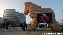 15.02.2017***** An inflatable model of a Trojan horse with the slogan Stop CETA is placed in front of the European Parliament during a protest against the Comprehensive Economic Trade Agreement (CETA) between the EU and Canada, in Strasbourg, France, February 15, 2017. REUTERS/Vincent Kessler