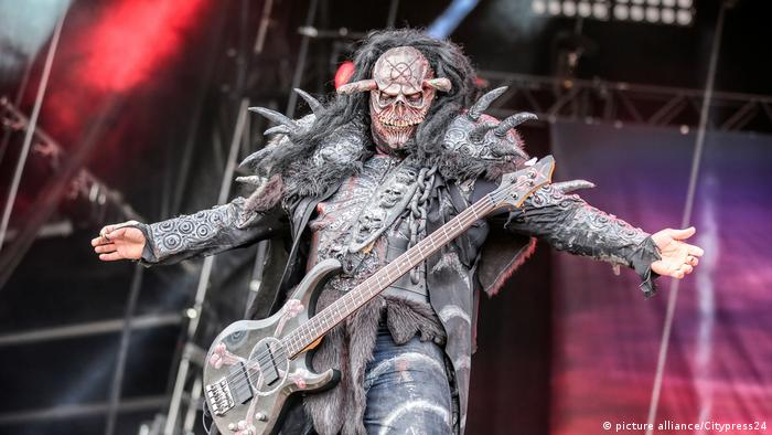 The Finnish hard rock band Lordi performs a live concert at the Swedish music festival
