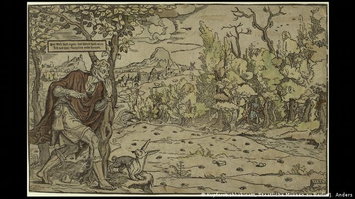 1546 image of a man creeping towards a forest from the The Field Has Eyes exhibition at the Museum für Fotografie in Berlin (Kupferstichkabinett, Staatliche Museen zu Berlin/J. Anders)