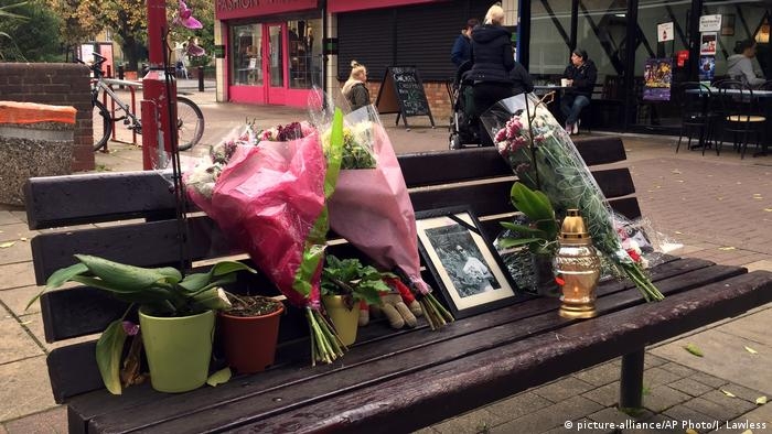 Flowers were left in memorial to Polish national Arek Jozwik after his death in Harlow, Essex