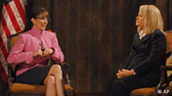 Tina Fey and Amy Poehler parody American newscaster Katie Couric's interview with Sarah Palin