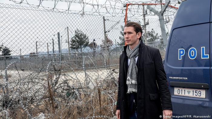 Sebastian Kurz on the Macedonian border