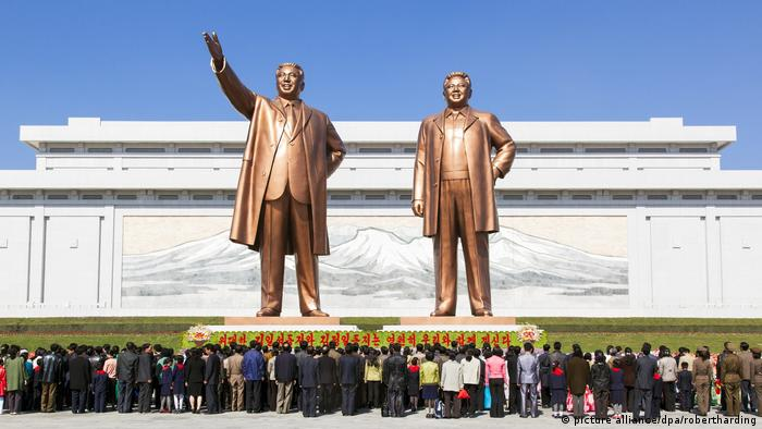 Mansudae Grand Monument, statues of former Presidents Kim Il Sung and Kim Jong Il, Mansudae Assembly Hall on Mansu Hill, Pyongyang, Democratic People's Republic of Korea