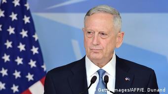 Defense Secretary James Mattis addresses the press during a NATO defence ministers' meetings at NATO headquarters in Brussels