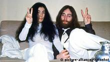 John Lennon and Yoko Ono photographed in 1969. © Lawrence Kirsch / Retna UK. Credit all uses 9th November 1966 - John Lennon and Yoko Ono meet for the first time at her exhibition at the Indica Gallery in London. Lennon remembered the date of their meeting as the 9th but many Beatles historians contend that it actually happened on the 7th, the day before the exhibition opened. |