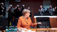 16.02.2017****German Chancellor Angela Merkel sits in the witness stand of a parliamentary inquiry in Berlin investigating the NSA's activities in Germany, February 16, 2017. REUTERS/Axel Schmidt