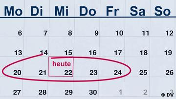 Calendar page, the current week circled