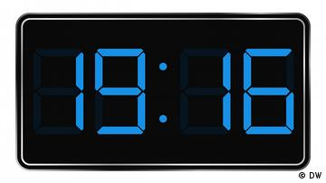 Digitale Uhrengrafik, Uhrzeit: 19:16 Uhr
