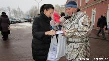 Februar 2017 in Weißrussland Unterschrift sammeln in Brest für die Abschaffung der Schmarotzer Steuer in Weißrussland