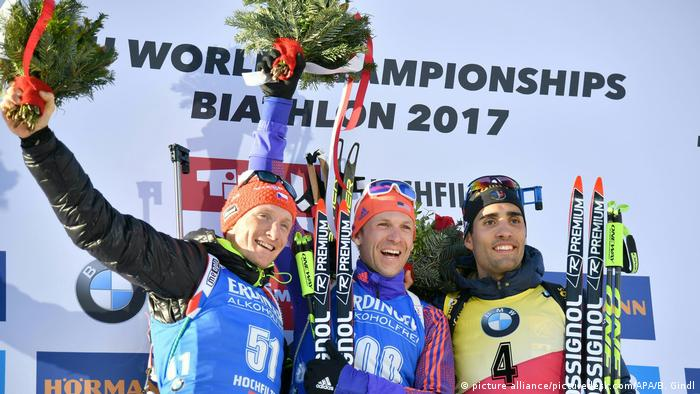 Biathlon-WM Siegerpodest Ondrej Moravec Lowell Bailey und Martin Fourcade (picture alliance/picturedesk.com/APA/B. Gindl)