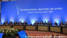ASTANA, KAZAKHSTAN - FEBRUARY 16: Representatives and delegation take part in the third session of Syria peace talks in Astana, Kazakhstan on February 16, 2017. Aliia Raimbekova / Anadolu Agency  