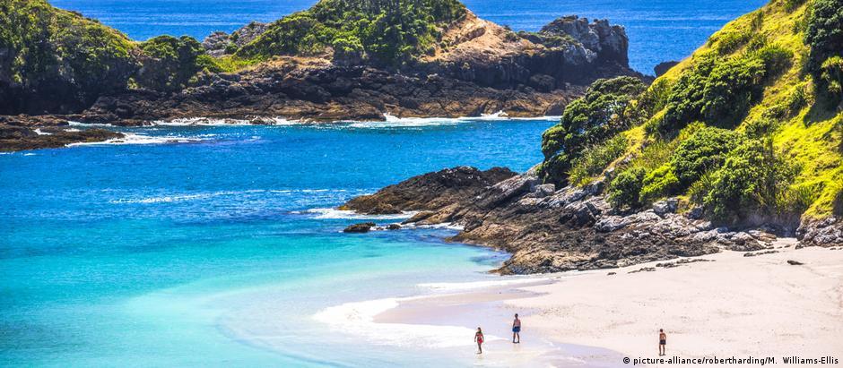 Praia no norte da Nova Zelândia