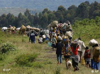 A line of refugees fleeing from Goma, eastern Congo