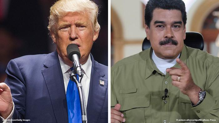 Photos of Donald Trump and Nicolas Maduro side by side.