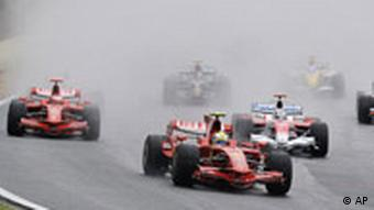 Formula One cars on a track