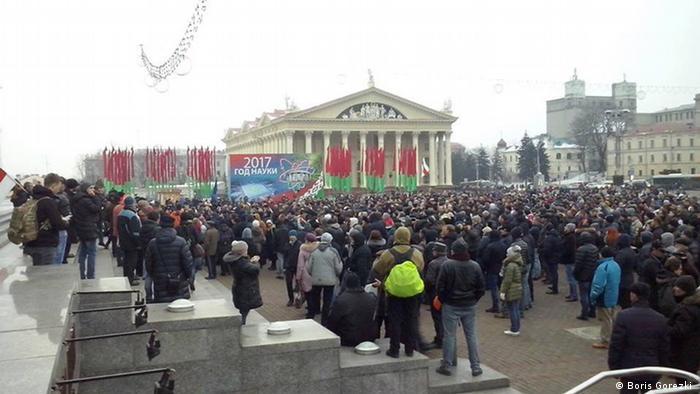 Минск, акция протеста белорусов против налога на тунеядство. 17 февраля 2017 года