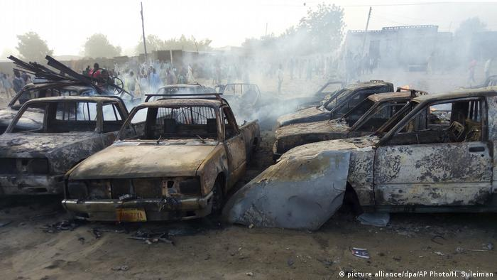Cars completely destroyed after an attack by Boko Haram