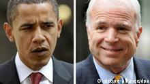 File photos of US senators Barack Obama and John McCain. Issue date: Sunday November 2, 2008. The next president of the United States will have to manage over-inflated expectations of his administration in the UK and Europe, US foreign policy experts said. Foto: Dominic Lipinski +++(c) dpa - Report+++