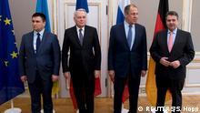 Deutschland | Münchner Sicherheitskonferenz | Außenminister aus der Ukraine Pavlo Klimkin, Frankreich Jean-Marc Ayrault, Russland Sergey Lavrov und Deutschland Sigmar Gabriel