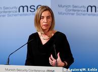Федеріка Могеріні під час виступу на Мюнхенській конференції з безпеки