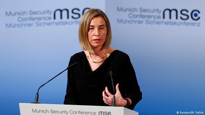 Глава европейской дипломатии Федерика Могерини на Мюнхенской конференции по безопасности, февраль 2017 года