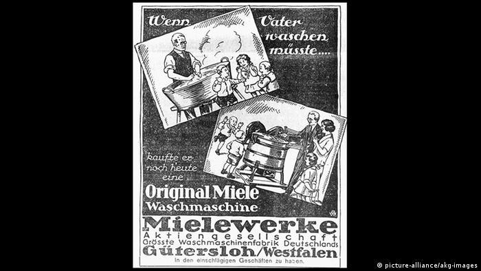 Cartel publicitario de Miele con la leyenda Si papá tuviera que lavar, compraría hoy mismo una máquina Miele.