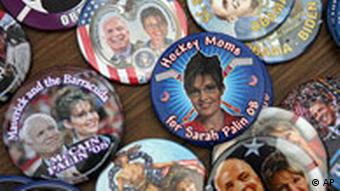 Republic campaign buttons featuring McCain and Palin