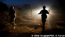 ARCHIV 2016 +++ Peacekeeper troops from Ethiopia and deployed in the United Nations (UN) Interim Security Force for Abyei (UNISFA) patrol at night in Abyei town, Abyei state, on December 14, 2016. The Abyei Administrative Area is a disputed territory between Sudan and South Sudan with a longstanding intercommunal tensions between the Ngok-Dinka ethnic majority and the pastoral Misseriya population, who migrate through the area seasonally from the north. An attack by Government of Sudan forces on Abyei in May 2011 displaced the majority of the Ngok Dinka population, approximately 105,000 people to areas south of the River Kiir, which became overcrowded and are suffering a huge competition over natural resources. / AFP / Albert Gonzalez Farran (Photo credit should read ALBERT GONZALEZ FARRAN/AFP/Getty Images)