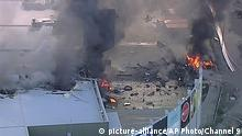 21.02.2017 This image made from video shows the site of a plane crash at Essendon Airport in Melbourne, Australia Tuesday, Feb. 21, 2017. An official says a light plane has crashed into a shopping mall in the city of Melbourne. (Channel 9 via AP)