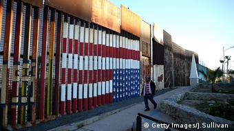 A view of the US-Mexican border fence at Playas de Tijuana