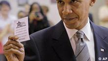 ** RE-TRANSMITTED WITH ALTERNATE CROP **Democratic presidential candidate Sen. Barack Obama, D-Ill., holds up an I voted paper after casting his vote at a polling place in Chicago, Tuesday, Nov. 4, 2008. (AP Photo/Jae C. Hong)