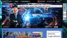 ***ACHTUNG: Bild nur zur Berichterstattung über die abgebildete Seite verwenden!*** TV-Sender Rossija 1 Moderator Dmitri Kiselev (Kisjelew) Sendung Vesti nedeli Quelle: https://russia.tv/brand/show/brand_id/5206/